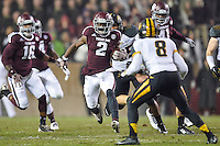 Texas A&M wide receiver Speedy Noil (2) rushes with the ball during an NCAA football game, Saturday, November 15, 2014 in College Station, Tex. Missouri defeated Texas A&M 34-27. (Mo Khursheed/TFV Media via AP Images)