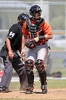 Baltimore Orioles minor league player Austin Rauch #59 during a spring training game vs the Boston Red Sox at the Buck O'Neil Complex in Sarasota, Florida;  March 22, 2011.  Photo By Mike Janes/Four Seam Images
