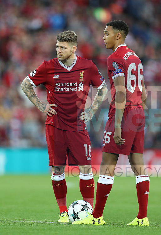 Alberto Moreno and Trent Alexander-Arnold of Liverpool during the Champions League playoff round at the Anfield Stadium, Liverpool. Picture date 23rd August 2017. Picture credit should read: Lynne Cameron/Sportimage