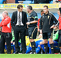 REFEREE BRIAN WINTER SENDS DUNFERMLINE MANAGER JIM MCINTYRE TO THE STAND AFTER BEING CALLED OVER BY FOURTH OFFICIAL IAIN BRINES