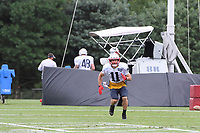 August 1, 2018: New England Patriots wide receiver Julian Edelman (11) runs a route at the New England Patriots training camp held on the practice fields at Gillette Stadium, in Foxborough, Massachusetts. Eric Canha/CSM