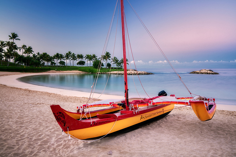 Outrigger boat on beach.  Ko Olina, Oahu, Hawaii
