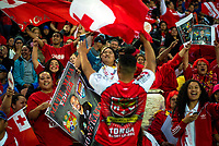 Fans in the grandstand during the 2017 Rugby League World Cup match between Toa Samoa and Mate Ma'a Tonga at FMG Stadium in Hamilton, New Zealand on Saturday, 4 November 2017. Photo: Dave Lintott / lintottphoto.co.nz
