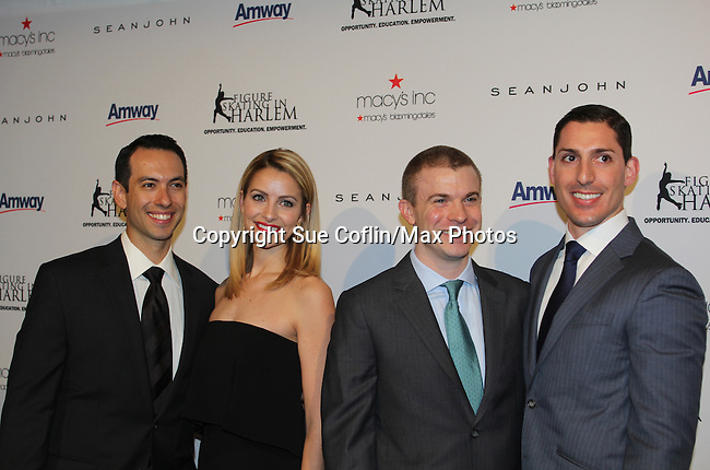 Ben Agosto & Tanith White (skaters)  with Tim Goebel (skater) and partner  - The 11th Annual Skating with the Stars Gala - a benefit gala for Figure Skating in Harlem on April 11, 2016 on Park Avenue in New York City, New York with many Olympic Skaters and Celebrities. (Photo by Sue Coflin/Max Photos)