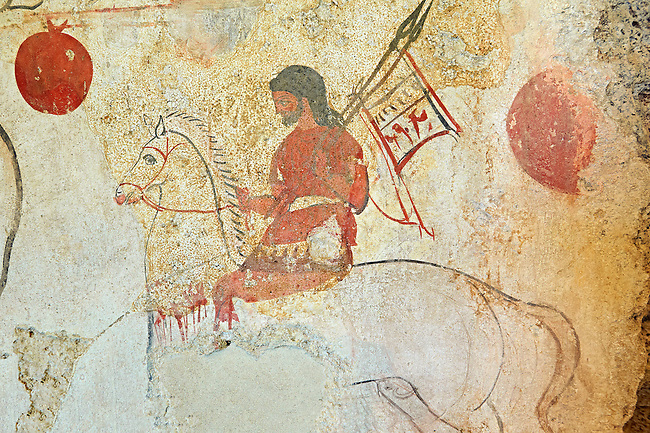 Lucanian fresco tomb painting of a warrior on a horse. Paestrum, Andriuolo. 3rd Century  BC