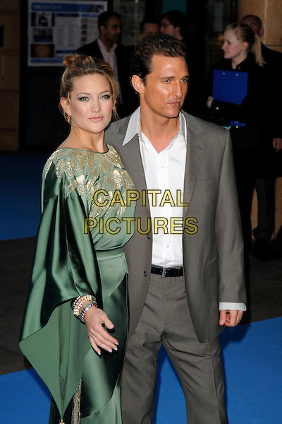 "KATE HUDSON & MATTHEW McCONAUGHEY.""Fool's Gold"" UK film premiere, Vue Leicester Square, London, England..April 10th, 2008.half 3/4 length green gold silk satin patterned pattern kimono dress sleeves grey gray suit laughing .CAP/CAN.©Can Nguyen/Capital Pictures."
