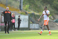 Blackpool's Donervon Daniels leaves the pitch after being shown a red card<br /> <br /> Photographer Kevin Barnes/CameraSport<br /> <br /> The EFL Sky Bet League One - Plymouth Argyle v Blackpool - Saturday 15th September 2018 - Home Park - Plymouth<br /> <br /> World Copyright &copy; 2018 CameraSport. All rights reserved. 43 Linden Ave. Countesthorpe. Leicester. England. LE8 5PG - Tel: +44 (0) 116 277 4147 - admin@camerasport.com - www.camerasport.com
