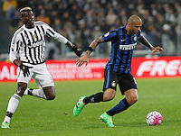 Calcio, Serie A: Juventus vs Inter. Torino, Juventus Stadium, 28 February 2016.<br /> Inter's Felipe Melo, right, is chased by Juventus&rsquo; Paul Pogba during the Italian Serie A football match between Juventus and Inter at Turin's Juventus Stadium, 28 February 2016.<br /> UPDATE IMAGES PRESS/Isabella Bonotto
