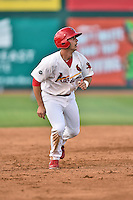 Johnson City Cardinals third baseman Paul DeJong (21) runs to third during a game against the Kingsport Mets on June 25, 2015 in Johnson City, Tennessee. The Mets defeated the Cardinals 10-8 (Tony Farlow/Four Seam Images)