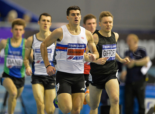 27.02.2016. EIS Sheffield, Sheffield, England. British Indoor Athletics Championships Day One. Guy Learmonth leads his heat of the 800m.