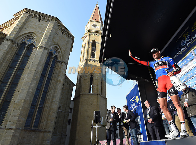 Greg Van Avermaet (BEL) BMC Racing Team wins Stage 3 and also takes the overall lead of the 2015 Tirreno-Adriatico cycle race running 203km from C&agrave;scina to Arezzo, Italy. 13th March 2015. <br /> Photo: ANSA/Daniel Dal Zennaro/www.newsfile.ie