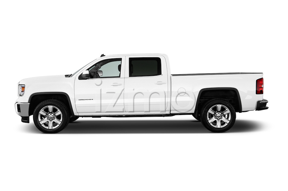 Driver side profile view of a 2014 GMC Sierra 1500 SLE Crew Cab