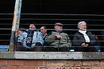 A group of elderly supporters watching on from the main stand at Station Park, Forfar before the SPFL League 2 fixture between Forfar Athletic and Edinburgh City. It was the club's sixth and final meeting of City's inaugural season since promotion from the Lowland League the previous season. City came from behind to win this match 2-1, watched by a crowd of 446.