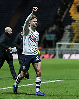 Preston North End's Sean Maguire salutes the fans at the end of the match <br /> <br /> Photographer Andrew Kearns/CameraSport<br /> <br /> The EFL Sky Bet Championship - Preston North End v Derby County - Friday 1st February 2019 - Deepdale Stadium - Preston<br /> <br /> World Copyright © 2019 CameraSport. All rights reserved. 43 Linden Ave. Countesthorpe. Leicester. England. LE8 5PG - Tel: +44 (0) 116 277 4147 - admin@camerasport.com - www.camerasport.com