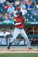 Harold Castro (3) of the Toledo Mud Hens at bat against the Charlotte Knights at BB&T BallPark on April 23, 2019 in Charlotte, North Carolina. The Knights defeated the Mud Hens 11-9 in 10 innings. (Brian Westerholt/Four Seam Images)