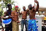MIAMI BEACH, FL - JUNE 21: Plaxico Burress, Lazaro Montero, Mark Boson and Braylon Edwards attend  DJ Irie Weekend-IWX - BBQ Beach Bash Pool Party at National Hotel on Saturday June 21, 2014 in Miami Beach, Florida. (Photo by Johnny Louis/jlnphotography.com)