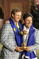 Winning European Team Captain Jose Maria Olazabal (ESP) and Nicolas Colsaerts (BEL) after Sunday's Singles Matches of the 39th Ryder Cup at Medinah Country Club, Chicago, Illinois 30th September 2012 (Photo Colum Watts/www.golffile.ie)