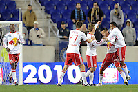 Connor Chinn (25) of the New York Red Bulls celebrates scoring his first of two first half goals during a US Open Cup qualifier against the Philadelphia Union at Red Bull Arena in Harrison, NJ, on April 27, 2010.