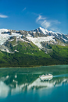 Aerial of the Coral Princess Cruise ship in College Fjord, Chugach mountains, Prince William Sound, Alaska