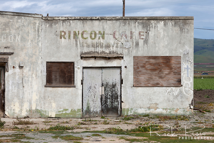 The boarded up remains of the Rincon Cafe along Highway 101 in the Salinas Valley near Gonzales, California