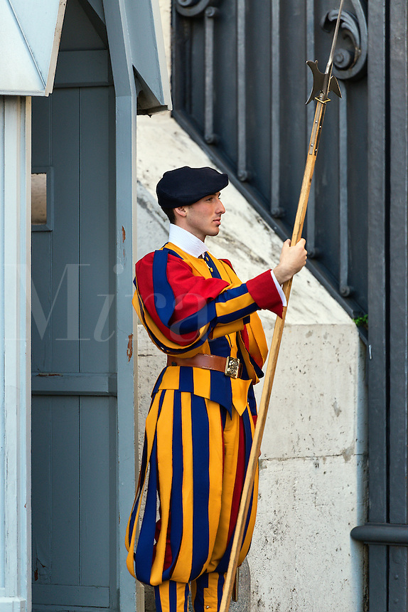 Pontifical Swiss Guard stands at attention, Vatican City, Rome, Italy