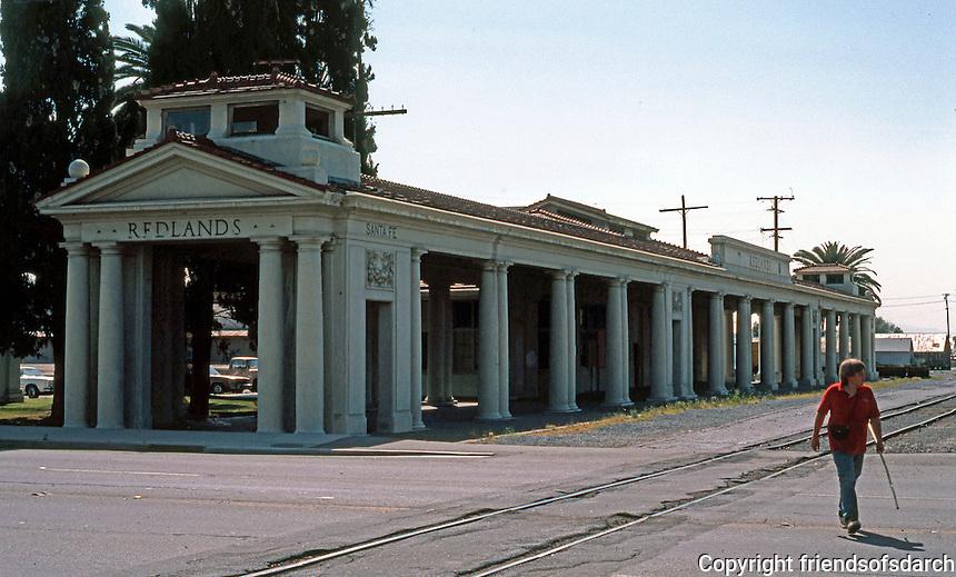Redlands CA: Santa Fe Railroad Station, 1909-1910. Tuscan Pedimented, Temple Front. Photo '87.