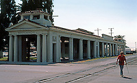 Redlands CA: Santa Fe Railroad Station, 1909-1910. Tuscan Pedimented, Temple Front. Photo '87.