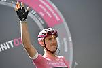 Race leader Rohan Dennis (AUS) BMC Racing Team Maglia Rosa at sign on before the start of Stage 4 a 202km very hilly stage running from Catania to Caltagirone, Sicily, Italy. 8th May 2018.<br /> Picture: LaPresse/Fabio Ferrari | Cyclefile<br /> <br /> <br /> All photos usage must carry mandatory copyright credit (&copy; Cyclefile | LaPresse/Fabio Ferrari)