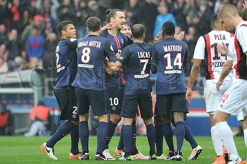 02.04.2016. Paris, France. French League 1 football. Paris St Germain versus Nice.  ZLATAN IBRAHIMOVIC (psg) and THIAGO SILVA (psg) celebrate their goal