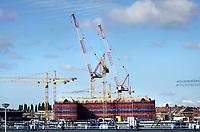 Nederland - Amsterdam - 2018. Bouwwerkzaamheden bij de Houthaven.  Foto Berlinda van Dam / Hollandse Hoogte.