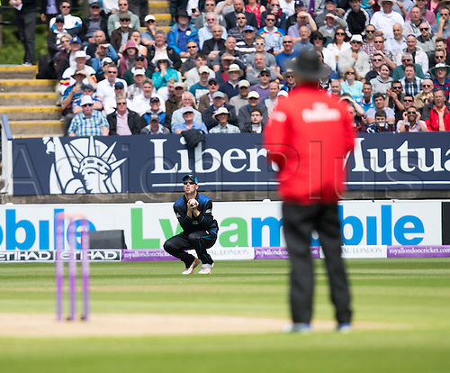 09.06.2015.  Birmingham, England. T20 One Day International. England versus New Zealand. Matt Henry of New Zealand makes the catch as Alex Hales of England is out from the bowling of Trent Boult of New Zealand