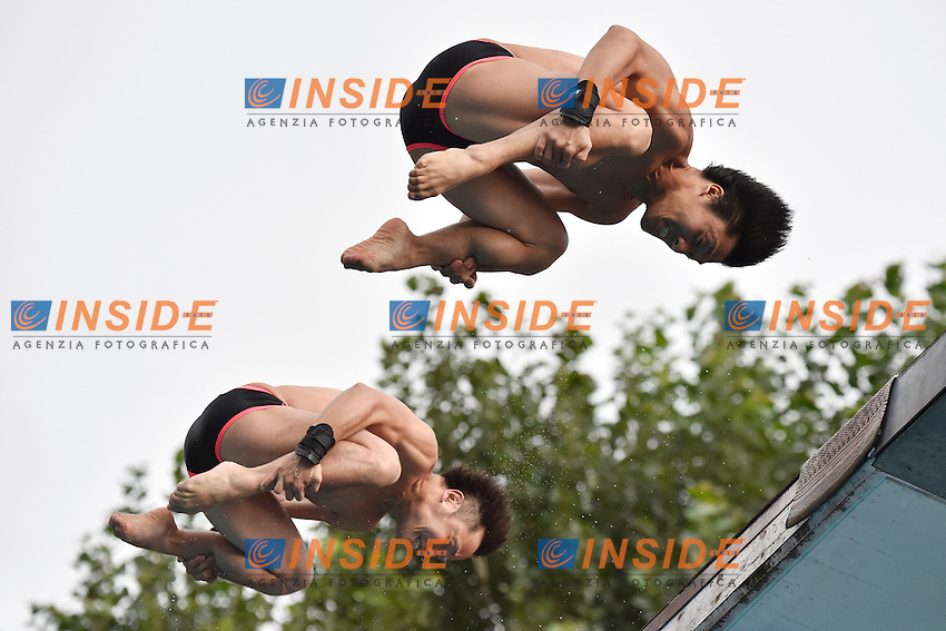 OKAMOTO Yu, MURAKAMI Kazuki JPN <br /> Synchronized Platform Men Final - Sincro Piattaforma Uomini Finale <br /> Bolzano 01-08-2014 <br /> 20 Fina Diving Grand Prix <br /> Photo Andrea Staccioli/Insidefoto