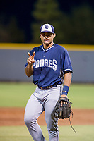 AZL Padres 2 third baseman Luis Roman (28) poses between innings during a game against the AZL Rangers on August 2, 2017 at the Texas Rangers Spring Training Complex in Surprise, Arizona. Padres 2 defeated the Rangers 6-3. (Zachary Lucy/Four Seam Images)