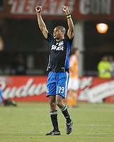 Ryan Johnson celebrates after the match,.San Jose Earthquakes over the Houston Dynamo 2-1, at Buck Shaw Stadium in Santa Clara, Calif., Thursday, May 22, 2008. .