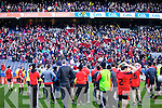 Supporters cheer on the Kenmare team after being defeated by Ballinasloe in the Junior All Ireland Club Final in Croke park on Sunday.