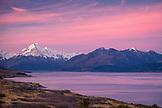 NEW ZEALAND, Aoraki Mount Cook National Park, Sunset over Mount Cook and Lake Pukaki, Ben M Thomas