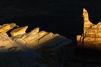 Unique formations at sunrise, Coal Mine Canyon, Arizona.