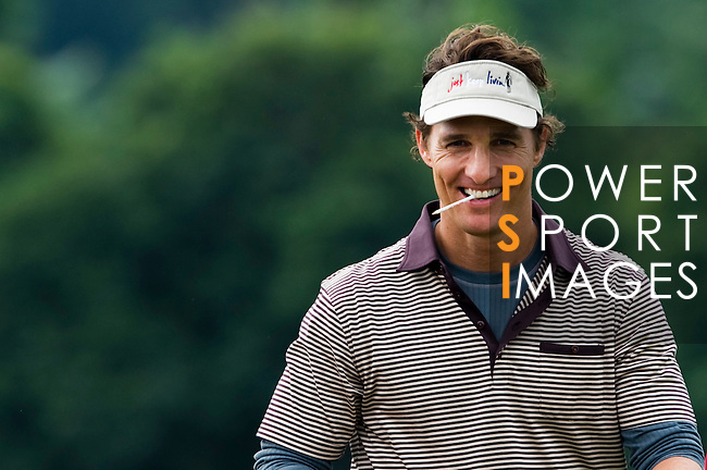 HAIKOU, CHINA - OCTOBER 29:  Hollywood actor Matthew McConaughey reacts on the 2nd green during day three of the Mission Hills Start Trophy tournament at Mission Hills Resort on October 29, 2010 in Haikou, China. The Mission Hills Star Trophy is Asia's leading leisure liflestyle event which features Hollywood celebrities and international golf stars. Photo by Victor Fraile / The Power of Sport Images