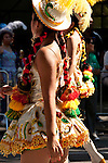 Two women dressed in traditional Bolivian clothes, walk in the Hispanic Parade in New York City