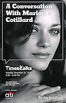 Event Poster: Marion Cotillard on stage at TimesTalks at the Times Center in New York City. November 27, 2012.