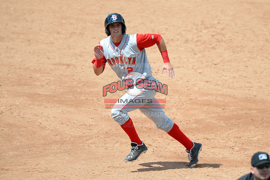 Brooklyn Cyclones shortstop Gavin Cecchini (2) during a game against the Jamestown Jammers on August 4, 2013 at Russell Diethrick Park in Jamestown, New York.  Jamestown defeated Brooklyn 9-5.  (Mike Janes/Four Seam Images)