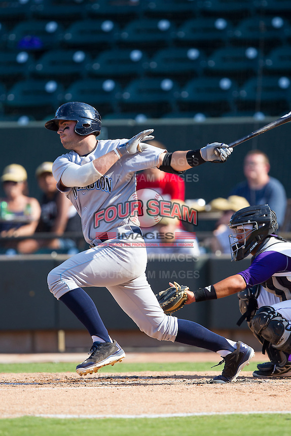Cam Gallagher (35) of the Wilmington Blue Rocks follows through on his swing against the Winston-Salem Dash at BB&T Ballpark on July 6, 2014 in Winston-Salem, North Carolina.  The Dash defeated the Blue Rocks 7-1.   (Brian Westerholt/Four Seam Images)