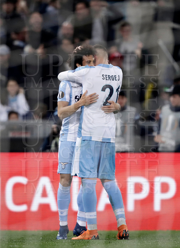 Europa League quarter-final 1st leg <br /> S.S. Lazio - FC Salzburg  Olympic Stadium Rome, April 5, 2018.<br /> Lazio's Felipe Anderson (l) celebrates after scoring with his teammate Ciro Immobile (r) during the Europa League match between Lazio and Salzburg at Rome's Olympic stadium, April 5, 2018.<br /> UPDATE IMAGES PRESS/Isabella Bonotto