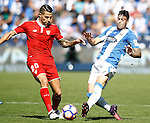 CD Leganes' Diego Rico (r) and Sevilla FC's Vitolo during La Liga match. October 15,2016. (ALTERPHOTOS/Acero)