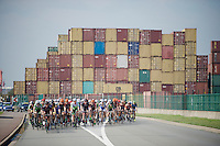 peloton riding through the Antwerp harbour at the start of the race.<br /> <br /> 90th Schaal Sels 2015