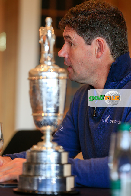 Padraig Harrington speaking to the media during a round table talk with the R and A at Dun Laoghaire Golf Club, Enniskerry, Wicklow. 25/04/2017.<br /> Picture: Golffile | Fran Caffrey<br /> <br /> <br /> All photo usage must carry mandatory copyright credit (&copy; Golffile | Fran Caffrey)