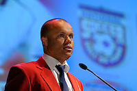 Hall of Fame inductee Earnie Stewart gives his acceptance speach during the 2011 National Soccer Hall of Fame induction ceremony in Foxborough, MA, on June 04, 2011.