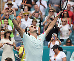 March 31, 2019: Roger Federer (SUI) defeated John Isner (USA) 6-1, 6-4, at the Miami Open being played at Hard Rock Stadium in Miami, Florida. ©Karla Kinne/Tennisclix 2010/CSM