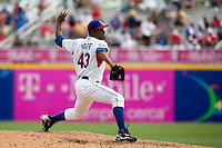 7 March 2009: #43 Damaso Marte of the Dominican Republic pitches against the Netherlands during the 2009 World Baseball Classic Pool D match at Hiram Bithorn Stadium in San Juan, Puerto Rico. Netherlands pulled off a huge upset in their World Baseball Classic opener with a 3-2 victory over Dominican Republic.
