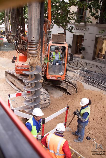 Street scene of Construction crew at work